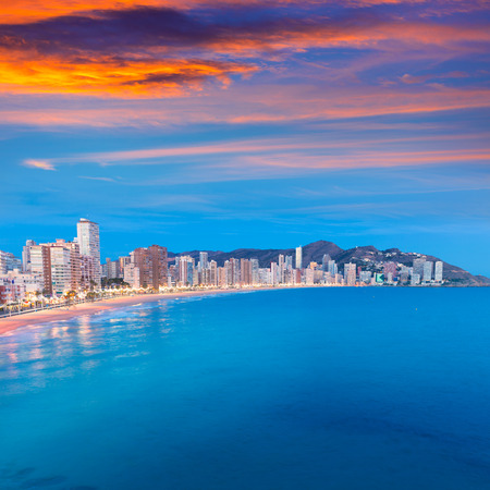 valencian: Benidorm sunset Alicante playa de Levante beach in spain Valencian community