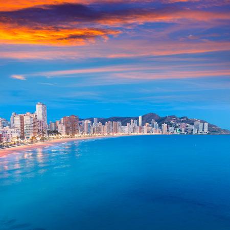 alicante: Benidorm sunset Alicante playa de Levante beach in spain Valencian community