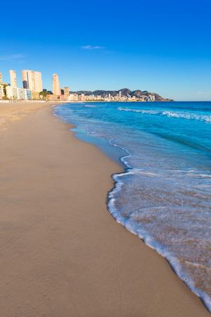 playa blanca: Benidorm Alicante playa de Poniente beach in spain Valencian community