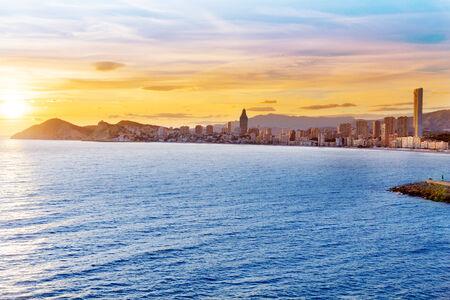 playa blanca: Benidorm Alicante sunset playa de Poniente beach in Spain Valencian community