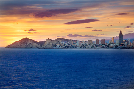 valencian: Benidorm Alicante sunset playa de Poniente beach in Spain Valencian community