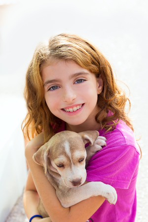 Kid girl smiling puppy dog and teeth braces smiling happy photo