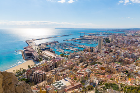 santa barbara: Alicante skyline aerial view from Santa Barbara Castle in Spain Stock Photo