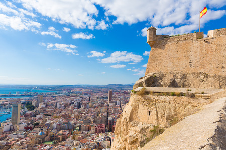 Alicante skyline aerial view from Santa Barbara Castle in Spain