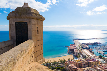 Alicante Postiguet beach view from Santa Barbara Castle of Spain