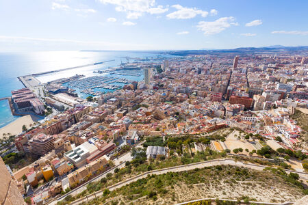 Alicante skyline aerial view from Santa Barbara Castle in Spain photo
