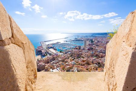 alicante: Alicante skyline aerial view from Santa Barbara Castle in Spain Stock Photo