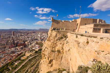 alicante: Alicante skyline aerial view from Santa Barbara Castle in Spain Editorial