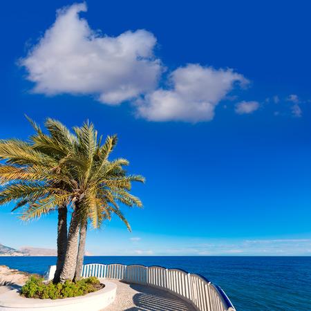 altea: Altea beach balconade typical white Mediterranean village Alicante of Spain