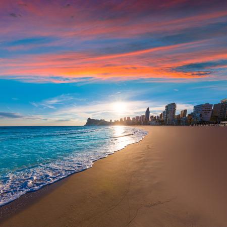 Benidorm Alicante playa de Poniente beach sunset in spain Valencian community