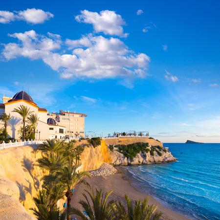 playa blanca: Benidorm Alicante playa del Mal Pas beach at sunset in Spain with palm trees