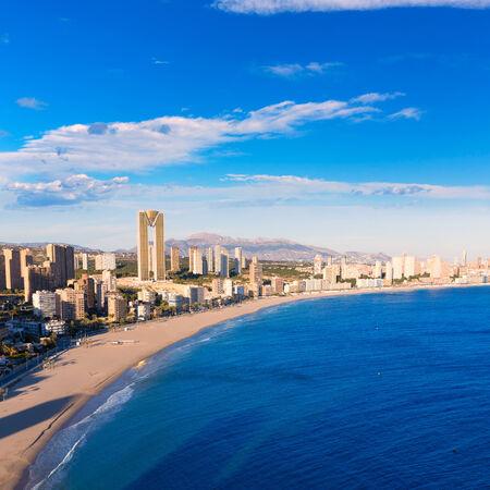 costa blanca: Benidorm alicante skyline high angle view of Poniente beach playa at spain Stock Photo