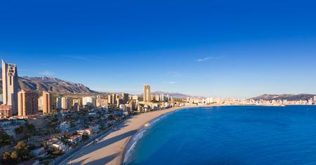 Benidorm alicante skyline high angle view of Poniente beach playa at spain photo