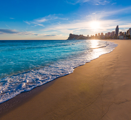 valencian: Benidorm Alicante playa de Poniente beach sunset in spain Valencian community