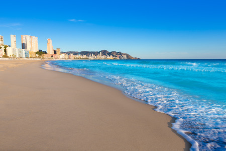 valencian: Benidorm Alicante playa de Poniente beach in spain Valencian community