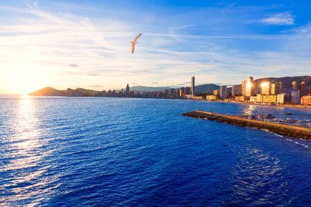 Benidorm Alicante sunset playa de Poniente beach in Spain Valencian community photo