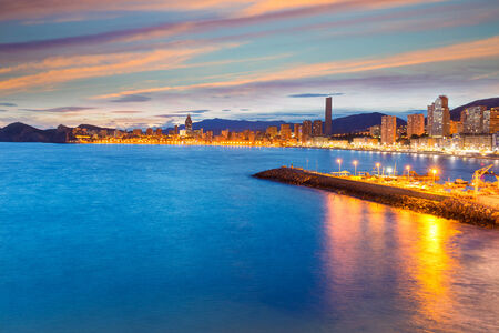 costa blanca: Benidorm Alicante sunset playa de Poniente beach in Spain Valencian community