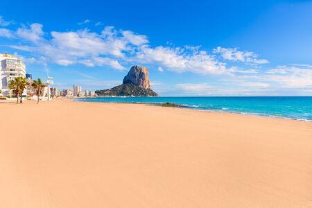 alicante: Calpe playa Arenal Bol beach near Penon de Ifach at Alicante spain