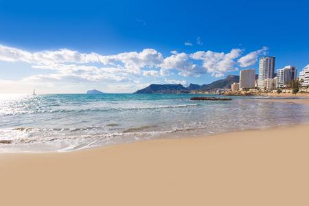 alicante: Calpe playa Cantal Roig beach near Penon de Ifach at Alicante spain Stock Photo