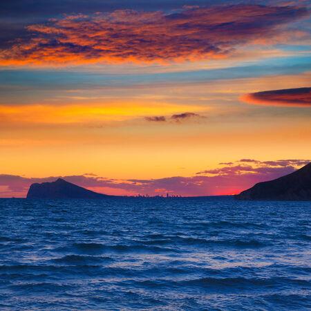 Benidorm sunset skyline view from Calpe Alicante in Mediterranean Spain photo
