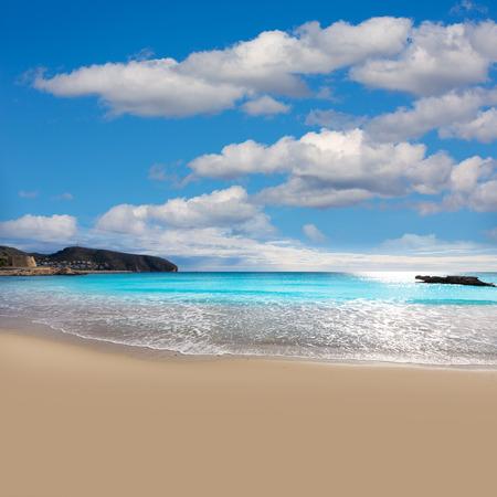 alicante: Moraira Playa la Ampolla beach in Teulada Alicante at Mediterranean Spain Stock Photo