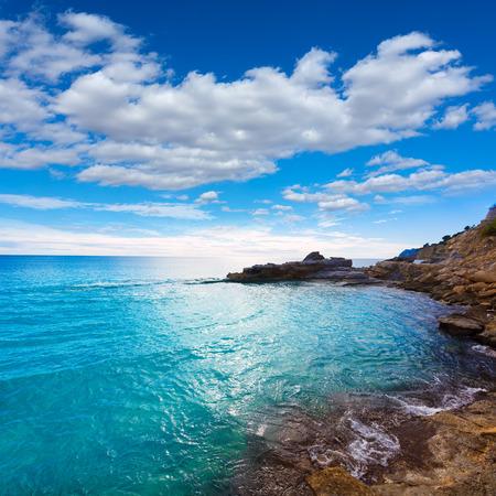 alicante: Moraira Cala Andrago beach in Teulada Alicante at Mediterranean Spain
