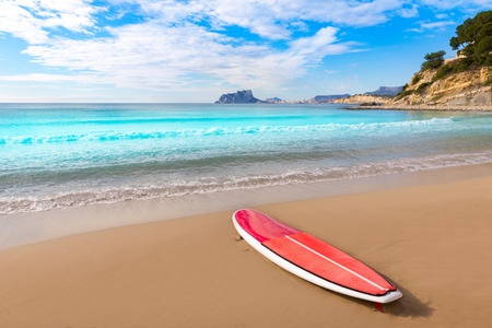 surfboard: Moraira playa El Portet beach with paddle surfboard at Alicante Spain
