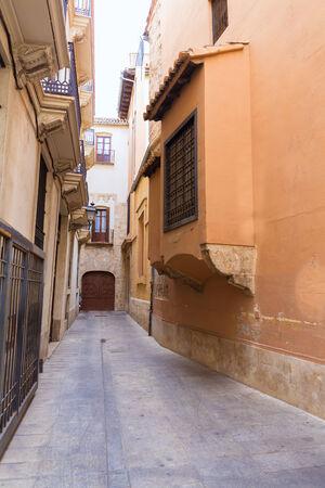 backstreet: Valencia backstreet in Trinquet de Cavallers street in Spain
