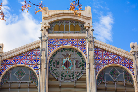 central market: Valencia Mercado de fachada del mercado central en Espa�a