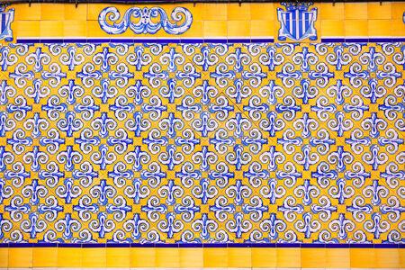 central market: Valencia Mercado Central market tiles facade in Spain