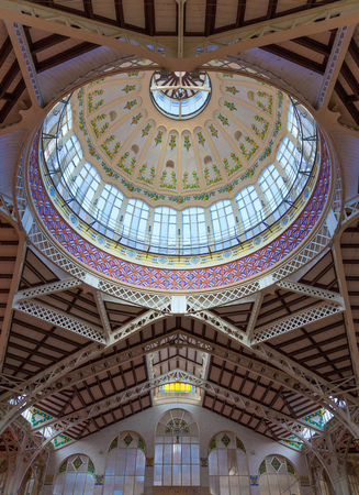 Valencia Mercado Central market dome indoor detail in Spain