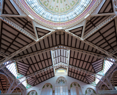 central market: Valencia Mercado Central market dome indoor detail in Spain
