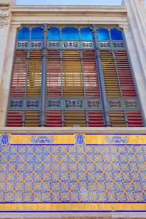 central market: Valencia Mercado Central market rear facade in Spain