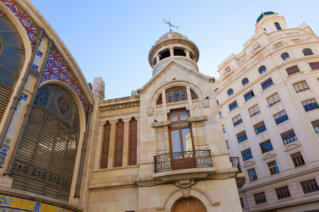 central market: Valencia Mercado Central fachada posterior del mercado en Espa�a Editorial