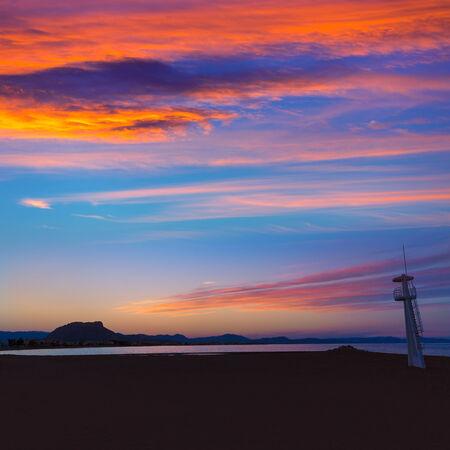 lifeguard tower: Denia Las sunset beach in Punta Molins at Alicante Mediterranean Spain