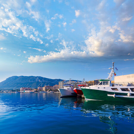 mongo: Denia Port with Montgo mountain fisherboats in Alicante province Spain