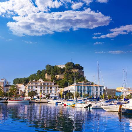 alicante: Denia Port with castle hill and boats in Alicante province Spain Stock Photo