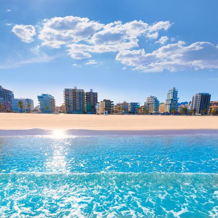 Gandia playa nord beach shore in Valencia at Mediterranean Spain
