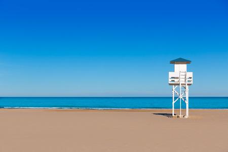 lifeguard tower: Gandia beach in Valencia at Mediterranean Lifegurard tower Spain