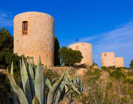 costa blanca: Javea Xabia Molins de la Plana old masonry windmills Alicante Spain