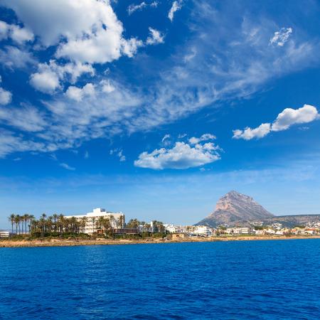 costa blanca: Javea Xabia skyline view from Mediterranean sea  Alicante Spain Stock Photo