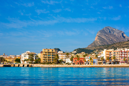 mongo: Javea Xabia skyline view from Mediterranean sea  Alicante Spain Stock Photo