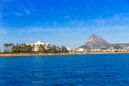 mongo: Javea Xabia skyline view from Mediterranean sea  Alicante Spain Stock Photo