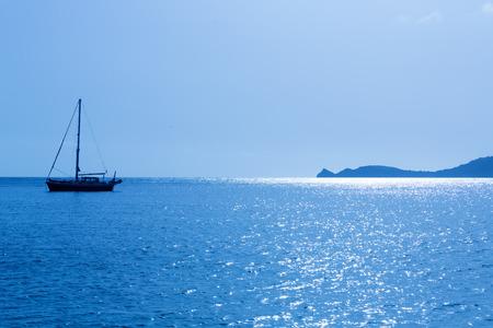 costa blanca: Javea Xabia morning light sailboat in Mediterranean Alicante at Spain Stock Photo