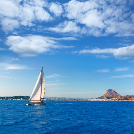 mongo: Javea sailboat sailing in Xabia at Mediterranean Alicante of Spain Stock Photo