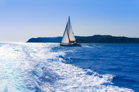 costa blanca: Javea sailboat sailing in San Martin cape Xabia at Mediterranean Alicante of Spain Stock Photo