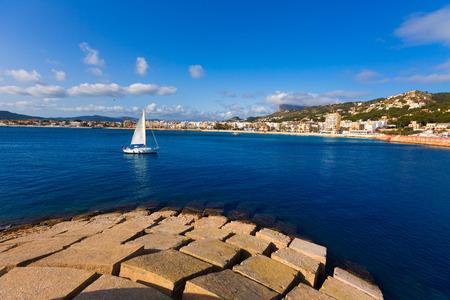 alicante: Javea Xabia skyline sailboat in Alicante Mediterranean Spain