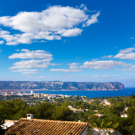 Javea Xabia skyline with San Antonio Cape in Alicante Mediterranean Spain photo
