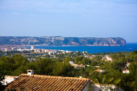 antonio: Javea Xabia skyline with San Antonio Cape in Alicante Mediterranean Spain Stock Photo