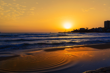 costa blanca: Javea Xabia El Arenal beach sunrise in Mediterranean Alicante Spain Stock Photo